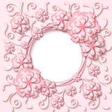 El marco redondo del vintage del vector con el papel rosa claro 3d cortó las flores Fotos de archivo libres de regalías