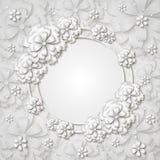 El marco redondo hermoso con el Libro Blanco 3d cortó las flores Imagenes de archivo