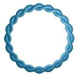 El marco redondo se tuerce del cuero es azul Foto de archivo libre de regalías
