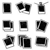 El marco retro aislado en el fondo blanco, garabatea la polaroid en blanco Imagen de archivo