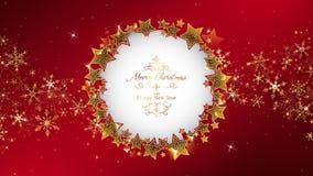 El marco rojo del fondo de la Navidad que redondea por brillo protagoniza stock de ilustración