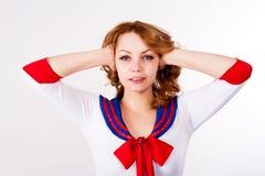 El marinero atractivo sin mal oye gesto Foto de archivo