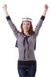 El marinero de la mujer joven en blanco Fotografía de archivo libre de regalías
