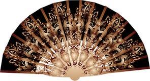 El marrón oscuro adornó la fan en blanco Fotos de archivo