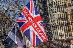 El marzo para los partidarios del brexit el 29 de marzo de 2019 foto de archivo libre de regalías