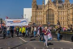 El marzo para los partidarios del brexit el 29 de marzo de 2019 imagen de archivo libre de regalías