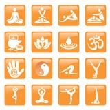 El masaje del balneario de la yoga abotona iconos Imagenes de archivo