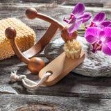 El masaje, el cuidado del clavo y la pureza curan las herramientas y diseñan Fotografía de archivo libre de regalías