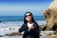 El Matador Beach California Chinese woman stock photography