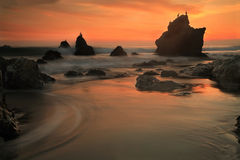 El Matador Beach II. El Matador Beach at sunset in Santa Monica, California Royalty Free Stock Images