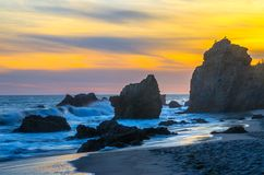 El Matador Beach. Sun setting along coast at El Matador stock images