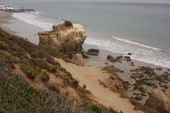 El Matador State Beach Malibu, California. Above on a stormy day El Matador State Beach in Malibu California USA Royalty Free Stock Photography