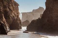 El Matador State Beach, Malibu, California. Beautiful huge rock on one of the most beautiful and popular beaches of Malibu - El Matador Beach Royalty Free Stock Photos
