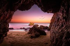 El Matador State Beach. This is one of the caves you can find at El Matador State Beach, Malibu, California, United States. Many couples go to see the sunset as Stock Photo