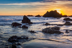 El Matador State Beach sunset. Beautiful sunset along the rocky El Matador State Beach, Malibu, California Stock Photo
