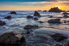 El Matador State Beach sunset. Beautiful sunset along the rocky El Matador State Beach, Malibu, California Stock Photography