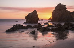 El Matador State Beach at Sunset. Sunset at El Matador State Beach in Malibu, California, off the Pacific Coast Highway (SR 1 Stock Images