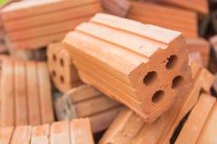 El material de construcción de ladrillo usado para la construcción de edificios Fotografía de archivo