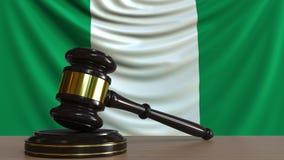 El mazo y el bloque del juez contra la bandera de Nigeria Animación conceptual de la corte nigeriana ilustración del vector