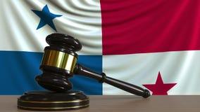 El mazo y el bloque del juez contra la bandera de Panamá Animación conceptual de la corte de Panamian metrajes