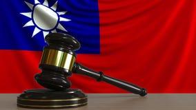 El mazo y el bloque del juez contra la bandera de Taiw?n Animaci?n conceptual de la corte taiwanesa libre illustration
