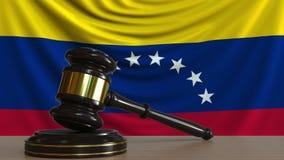 El mazo y el bloque del juez contra la bandera de Venezuela Animación conceptual de la corte venezolana metrajes