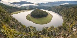 El meandro del río de Alagon llamó el Melero, visión panorámica Fotografía de archivo libre de regalías