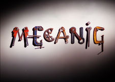 El mecánico filetea palabra imagenes de archivo