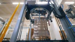 El mecanismo de la fábrica está envolviendo las cajas del cartón con polietileno Equipo moderno de la f?brica metrajes