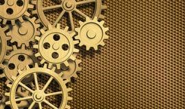 El mecanismo de oro engrana el fondo del metal Fotografía de archivo