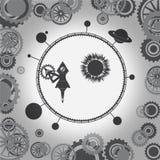 El mecanismo está girando el universo con los planetas alrededor del cohete Imagen del vector libre illustration