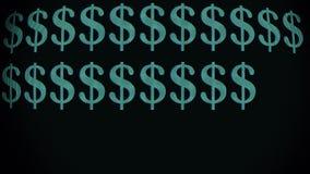 El mecanografiar rápido verde de la muestra de dólar en el viejo lazo llevado curvado del fondo de la animación de la exhibición  stock de ilustración