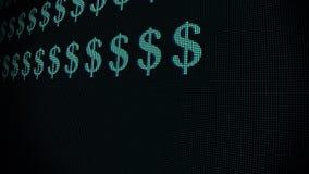 El mecanografiar rápido verde de la muestra de dólar en viejo lazo llevado del fondo de la animación de la exhibición del lcd - e ilustración del vector