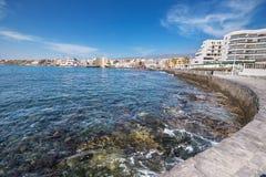 El Medano海岸线风景看法,在特内里费岛,加那利群岛,西班牙 库存照片