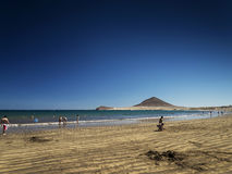 El medano beach and montana roja mountain in tenerife spain Royalty Free Stock Images
