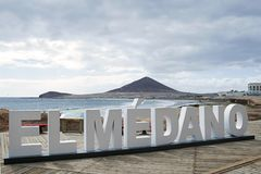 El Medano, Tenerife, Canary Islands, Spain. The three-dimensional sign that reads El Medano, positioned on the long promenade that goes along the coast and beach Royalty Free Stock Image