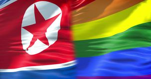 El medio agitar colorido de la bandera y de la media bandera que agitan, bandera del arco iris del orgullo gay de Corea del Norte stock de ilustración