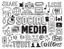 El medio social garabatea elementos stock de ilustración