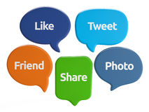El medios discurso social burbujea (como, pío, amigo, parte, la foto) Imágenes de archivo libres de regalías