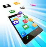 El medios teléfono social significa el servicio de noticias y el teléfono móvil Foto de archivo