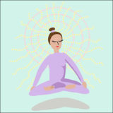 El meditar de la muchacha Foto de archivo libre de regalías