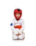El meditar de la muchacha del karate Foto de archivo