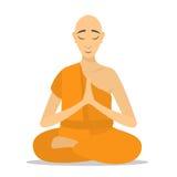 El meditar del monje budista aislado Imagen de archivo
