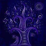 El meditar que se sienta del hombre debajo de un árbol Foto de archivo libre de regalías
