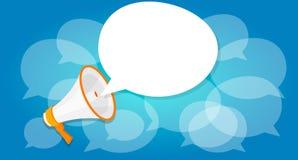 El megáfono anuncia la comercialización en línea de la relación pública del grito del locutor digital Imágenes de archivo libres de regalías