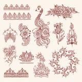El mehendi floral florece el fondo dibujado mano de la India de la alheña del ejemplo del vector del ornamento del modelo del vin stock de ilustración