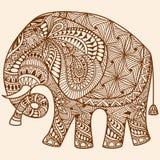 El mehndi de la alheña del vector adornó el elefante indio stock de ilustración