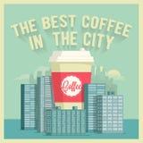 El mejor café de la ciudad El vintage diseñó el cartel del vector Foto de archivo