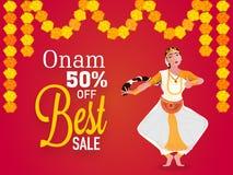 El mejor cartel de la venta, bandera para Onam Imágenes de archivo libres de regalías