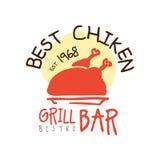 El mejor chiken el estd 1968, ejemplo colorido dibujado mano de la barra de la parrilla del vector de la plantilla del logotipo libre illustration